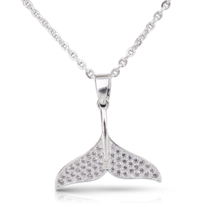 Ice Blu Whale Tail Necklace - Silver