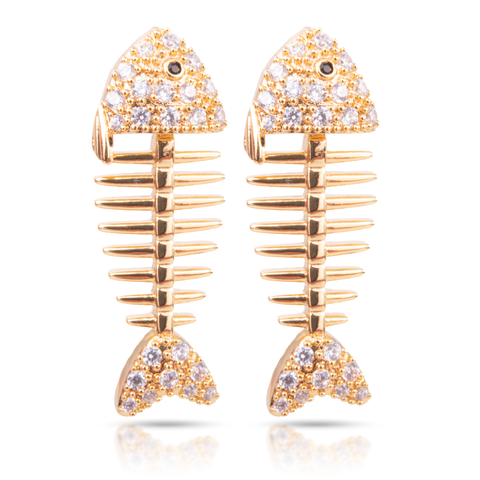 Ice Blu Fish Bone Earrings - Gold
