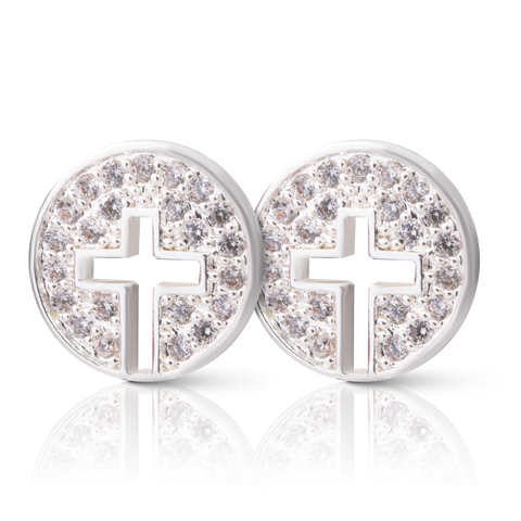 Ice Blu Cross Halo Stud Earrings - Silver