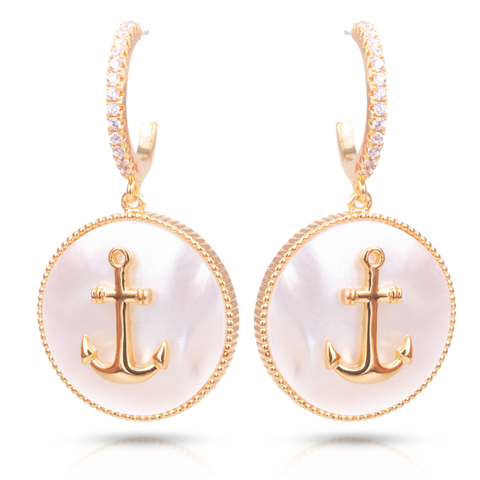 Ice Blu Mother of Pearl Anchor Earrings - Gold
