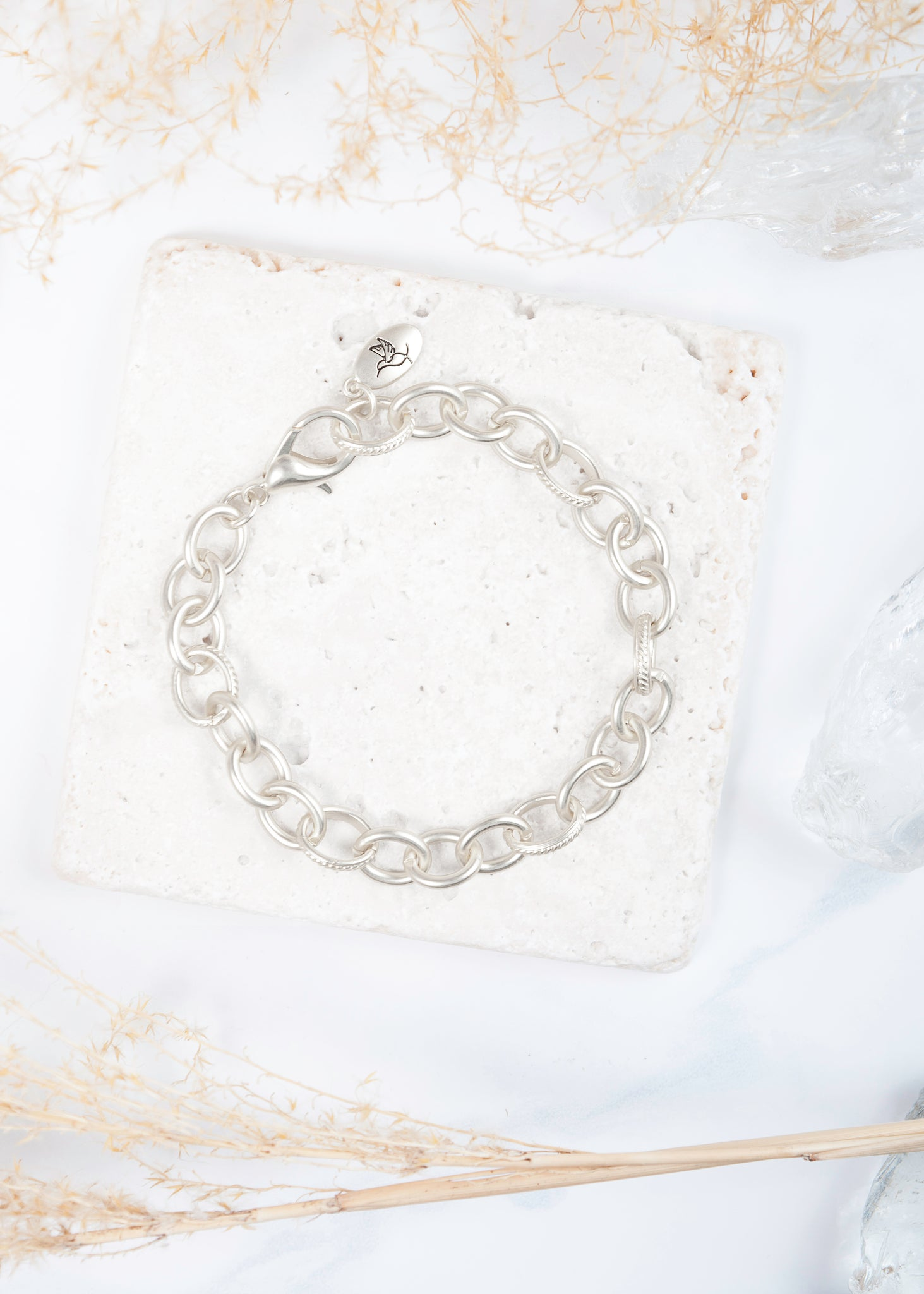 Heartfelt Emotions Chain Bracelet - Matte Silver