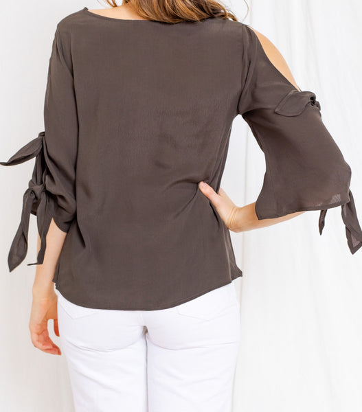 TOP SPLIT SLEEVE - OLIVE