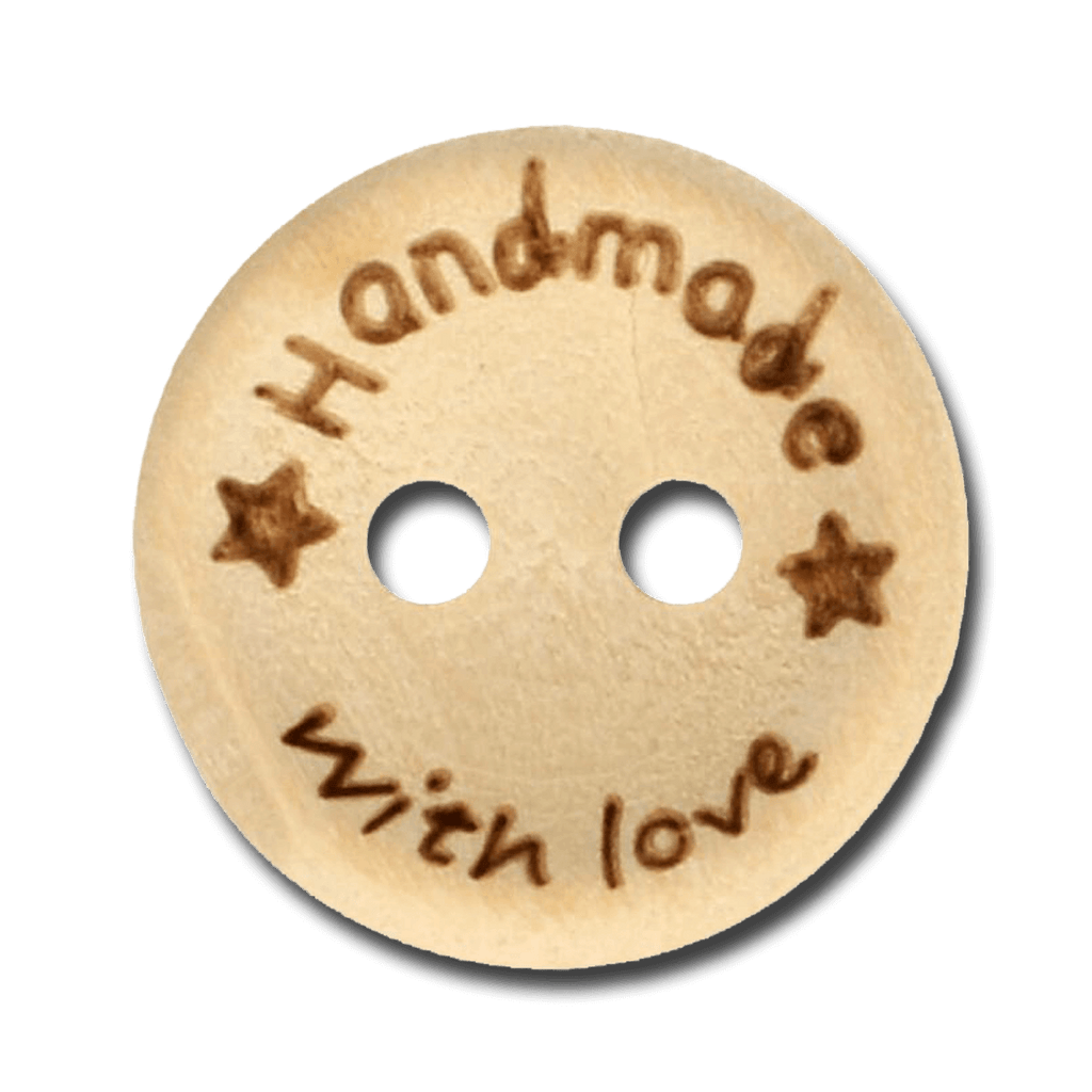 Houten knoop handmade with love 15mm