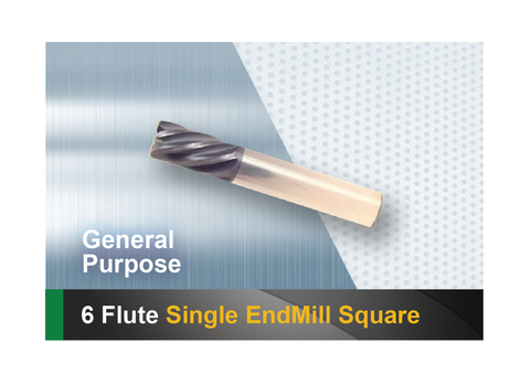 6 Flute end mill square SCTools HTC