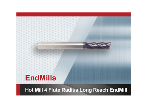 Hot Mill 4 Flute Radius Long Reach Square End Mill SCTools HTC