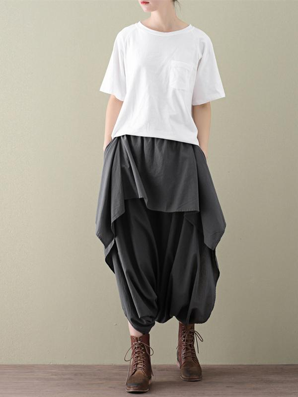 Loose Cropped Ramie Cotton Culottes Casual Pants