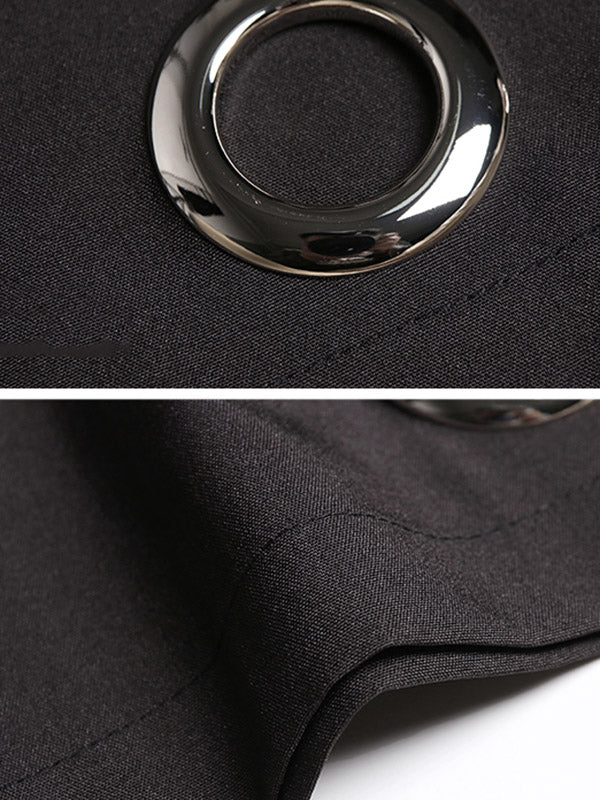 Loose Black Iron-Ringed A-Line Stand Collar Dress
