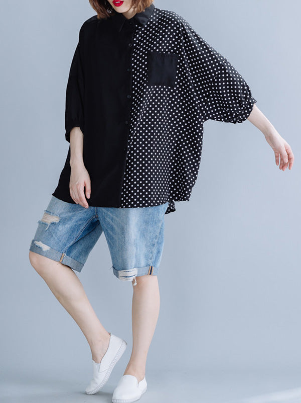Polka-Dot Splicing Bat Sleeve Long Shirt