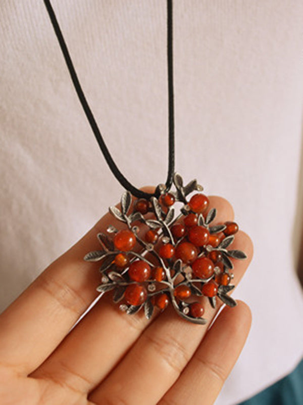 Red Colored Stone With Branch Necklace