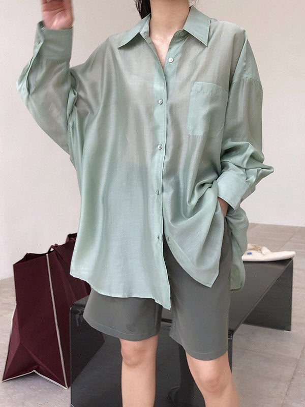 Original Solid Shirt Blouse Tops