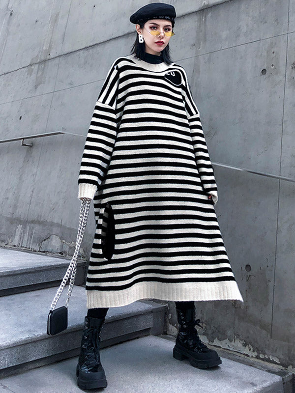 Striped Loose Hole Mid-Length Round Neck Dress