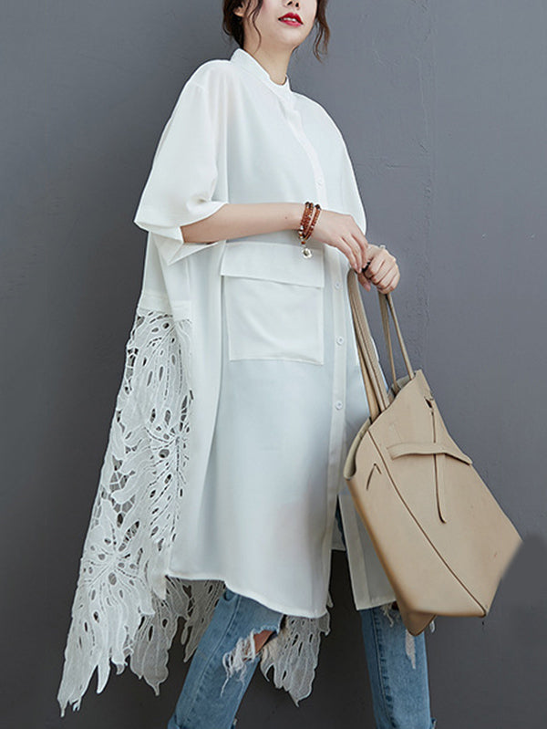 Loose Split-Joint Hollow Solid Long Blouse