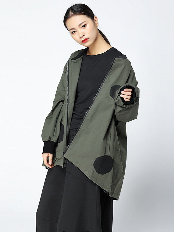 Cropped Polka-Dot Loose Hip Hop Outwears