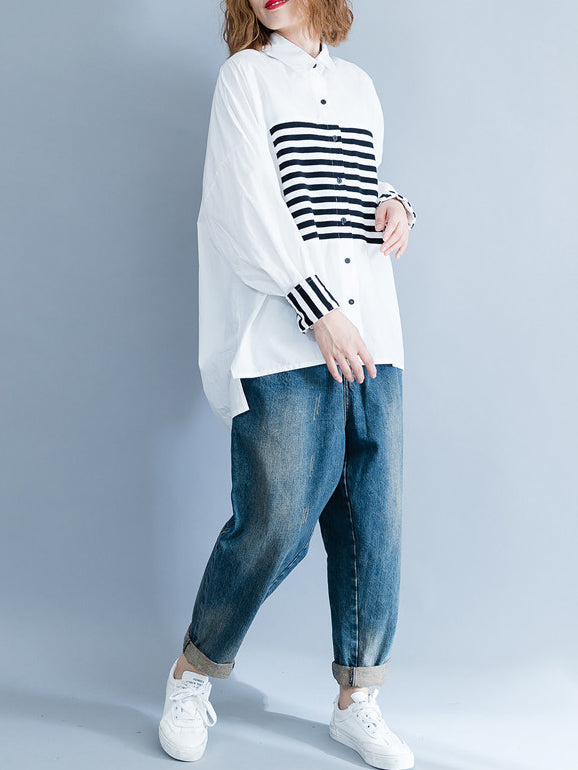 Stripe Split-joint White Shirt