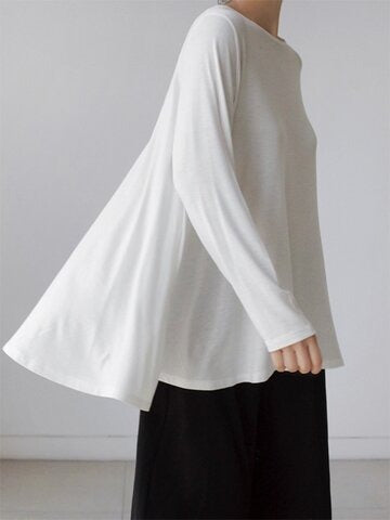 Soft Loose Black&White Long Sleeves T-Shirt