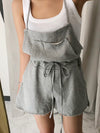 Black&Gray Urban Comfortable One-Piece Shorts Romper