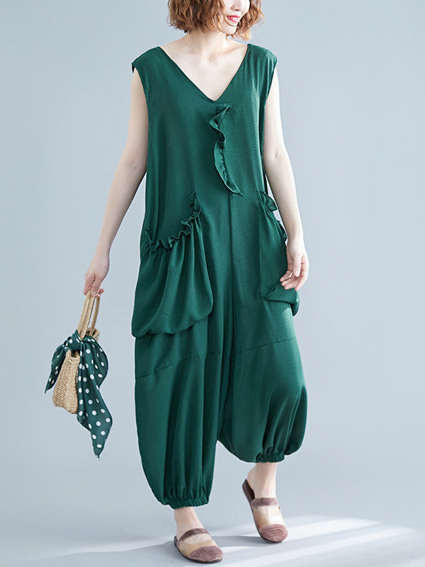 Loose Solid Color Sleeveless V-Neck Jumpsuit