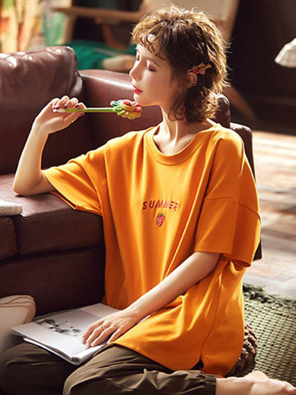Two-Pieces Loose Fruit-Patterned Short Sleeves Pajamas Suits