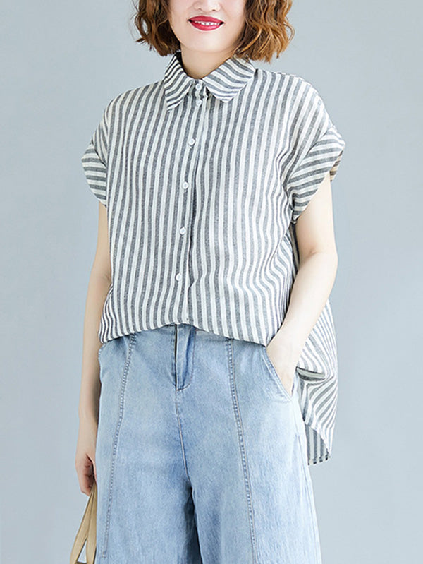 Loose Striped Short Sleeve Shirt