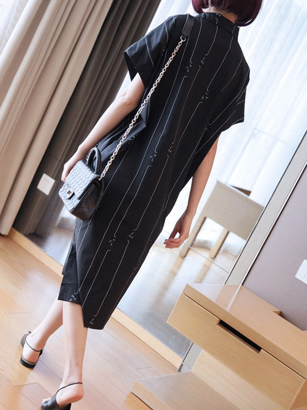 Loose Striped Shirt High-Low Dress