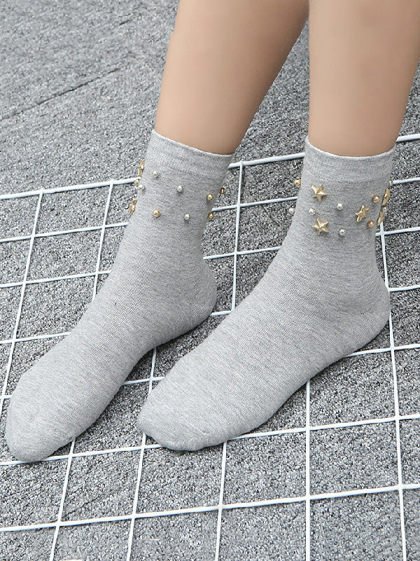 Fashion Star Beads Plain Socks