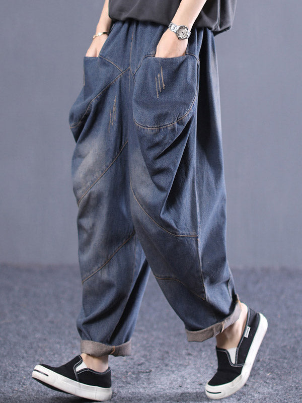 Vintage Loose Cropped Pocket Splicing Jean Harem Pants