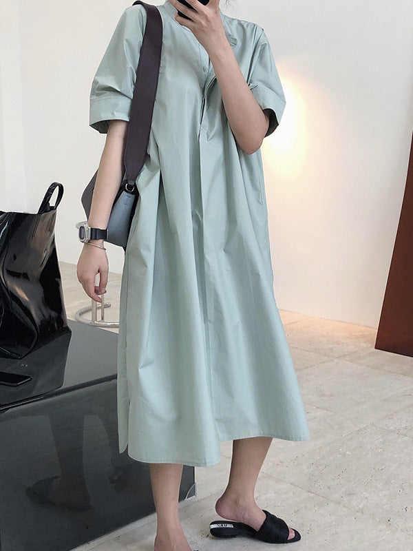 Original Solid Round-Neck Shirt Dress
