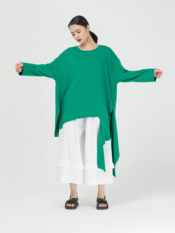 Loose Cropped Solid Color Long Sleeve T-Shirt