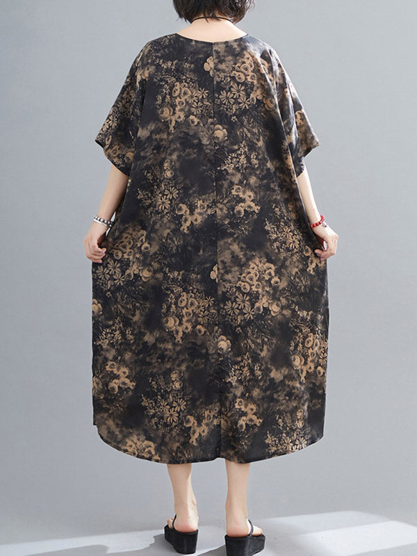 Plus Size Loose Printed V-Neck Midi Dress