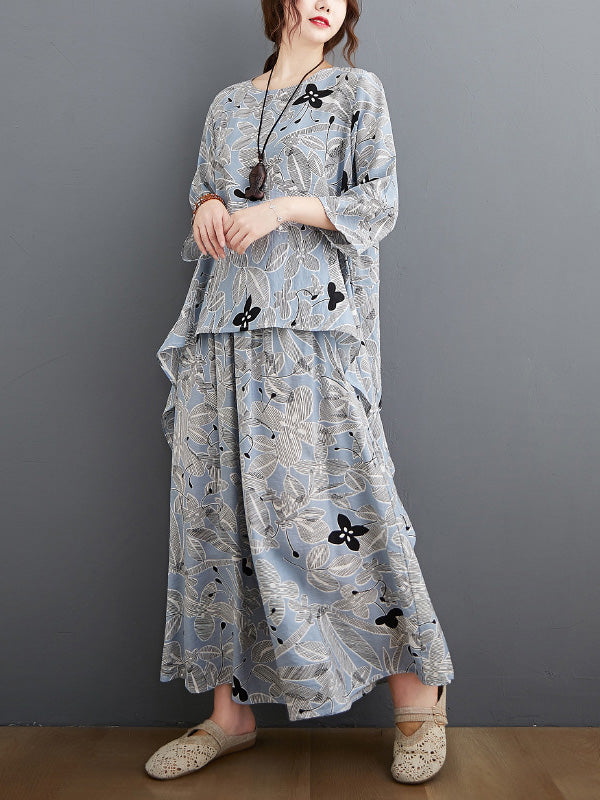 Printed Batwing Sleeve T-Shirt&Wide-Leg Pants Suits