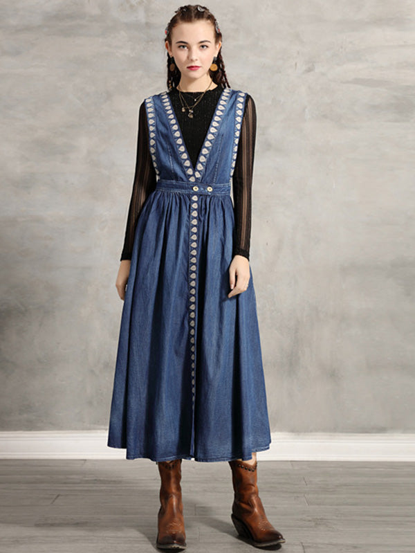 Two-Pieces Vintage Embroidered Jean Turtleneck Dress Set