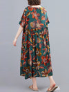 Vintage Floral Round-Neck Short Sleeve Dress
