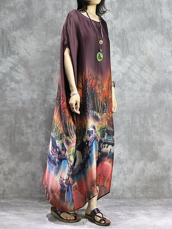 Loose Retro Silk Long Dress