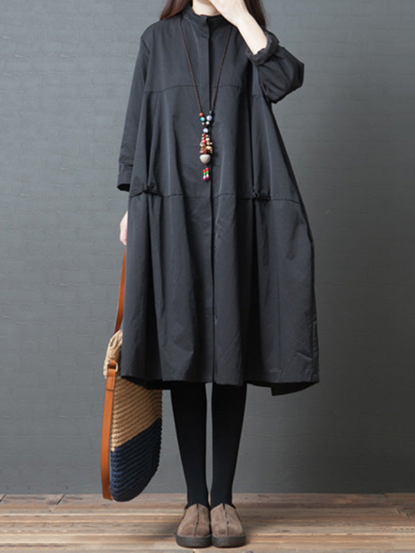Plus Size Loose Solid Shirt Midi Dresses