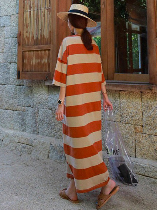 Loose Colorful Striped Long Dress