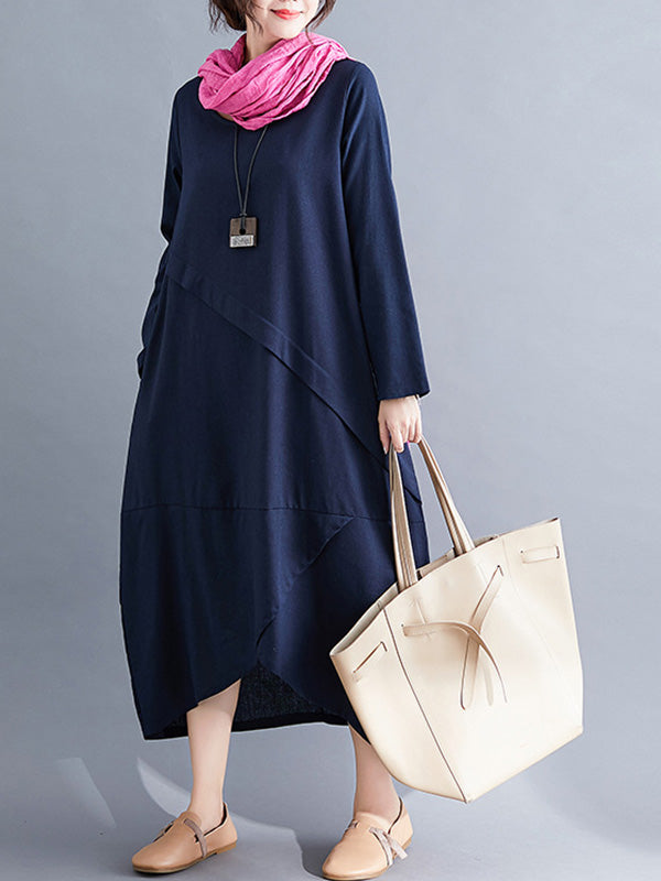 Casual Split-joint Cropped Long Sleeve Dress