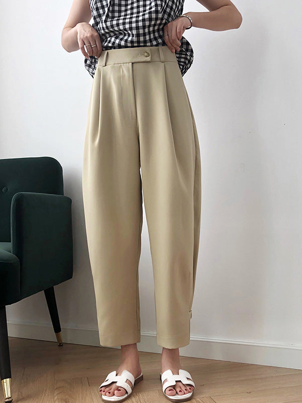 Solid High Waist Casual Suit Pants