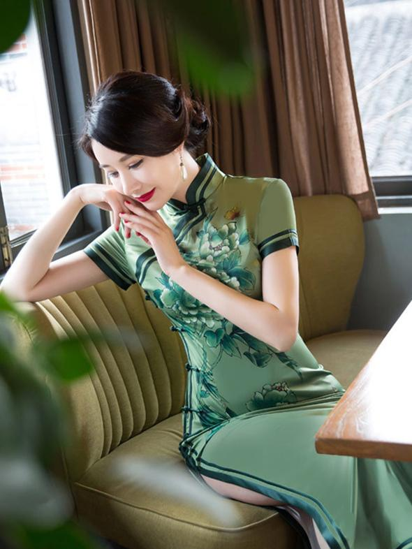 Green Peony Flower Side Split Long Cheongsam