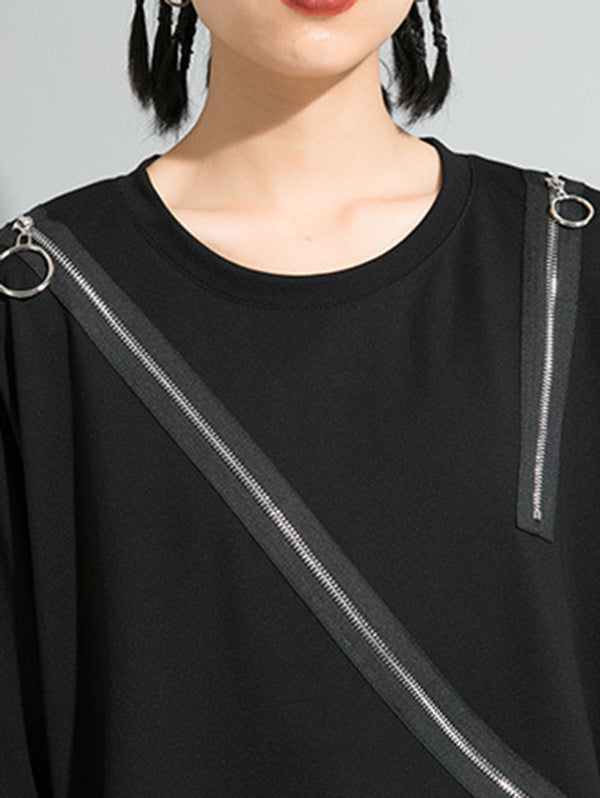 Solid Color Cropped Zipper Splicing T-Shirt