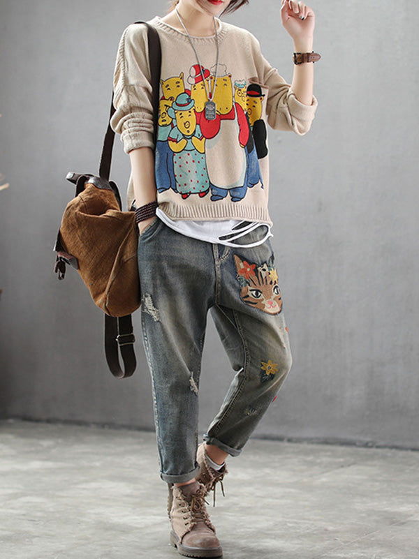 Casual Retro Embroidered Pants