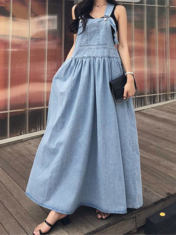 Loose Wide-Leg Jean Long Slip Dress