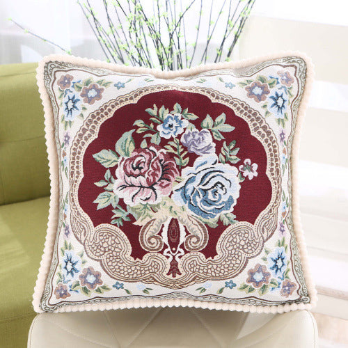 Embroidered Square Pillow Case