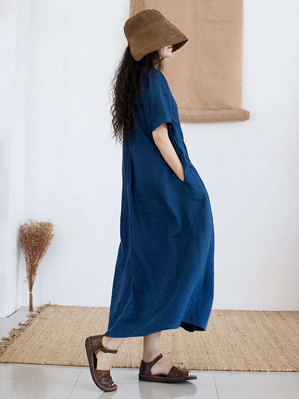 2019 Summer New Loose Embroidery Solid Dress