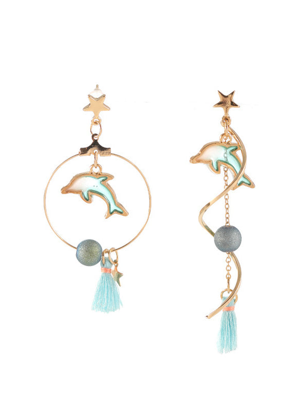 Original Asymmetric Dolphin Earrings