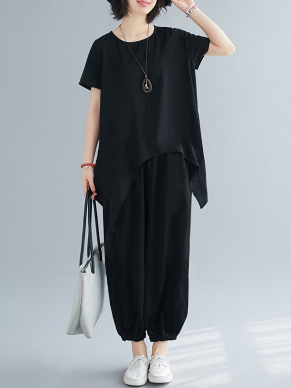 Plus Size Casual Black Summer Suits