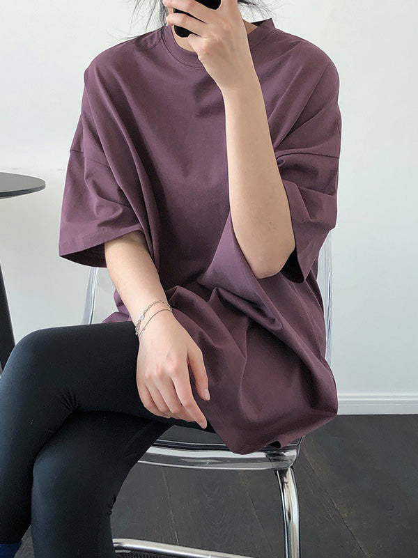 Solid Color Casual Loose Round Neck T-Shirt