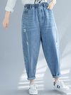 Casual Elasticity Hole Capri-Pants