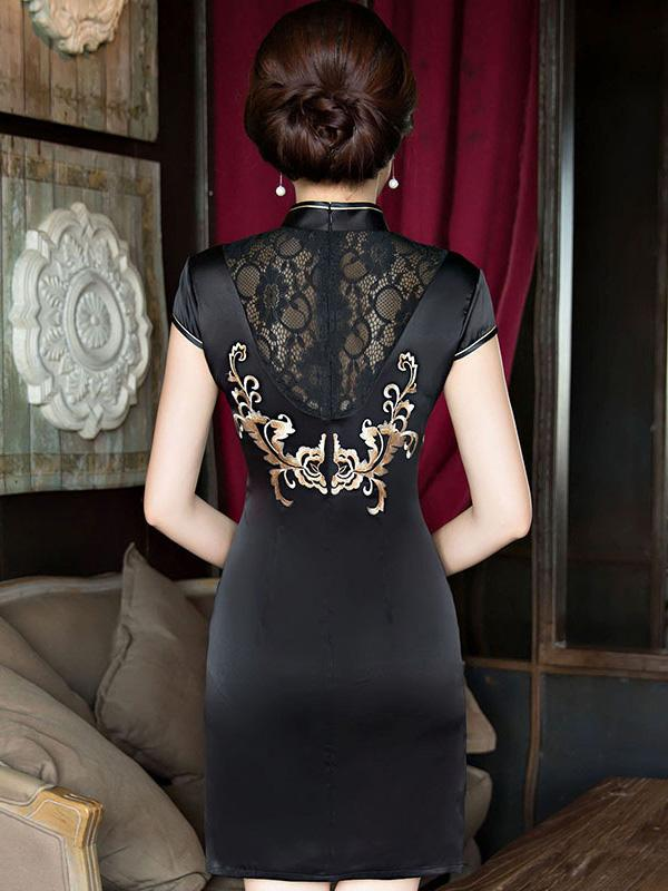 Elegant Black Embroidered Short Cheongsam