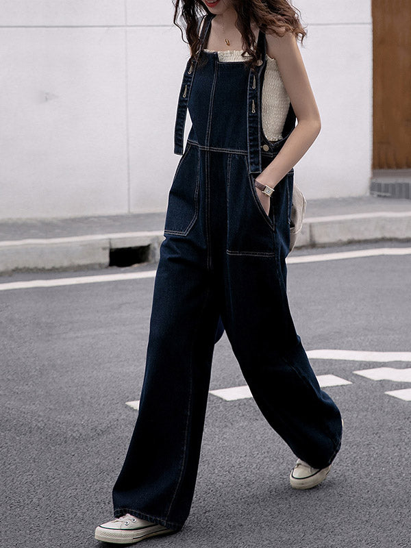 Vintage Empire Column Denim Jumpsuits