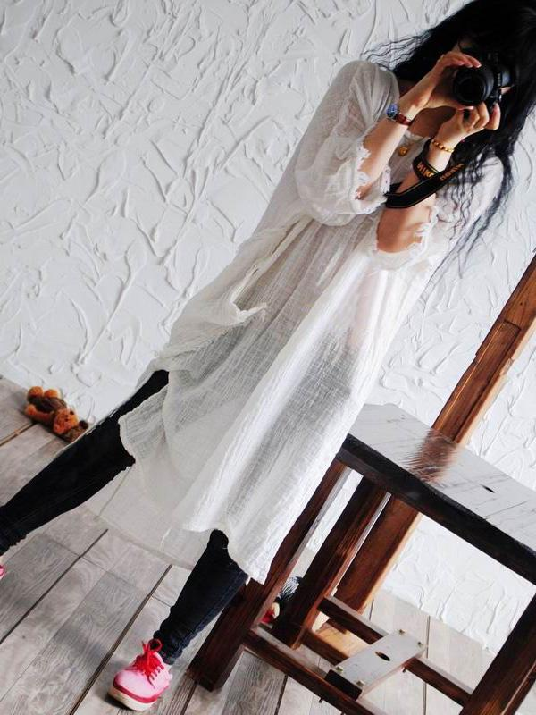 Casual Texture Ramie Cotton Long Robe